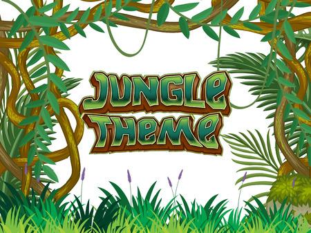 Jungle Theme nature scene illustration Ilustração Vetorial