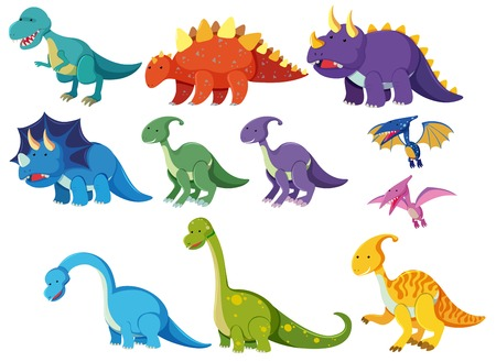 Set of cartoon dinosaurs illustration