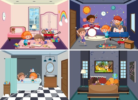 Set of children scenes illustration