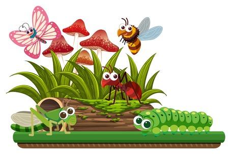 Nature scene with animals illustration