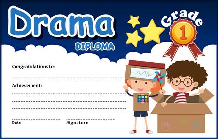 Drama diploma certificate template illustration