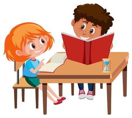 Ilustración de estudio de niño y niña