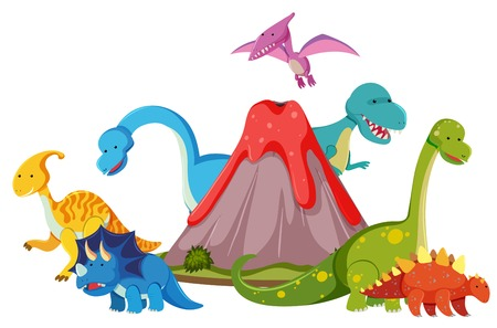 Many dinosaur next to volcano illustration Stock Vector - 111926528