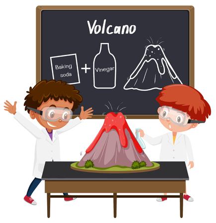 Studentisches Vulkanwissenschaftsexperiment Illustration