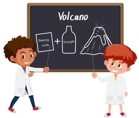 Ilustración de experimento de ciencia de volcán de estudiante