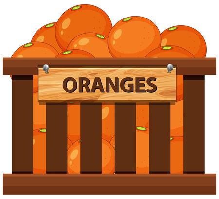Orange dans l'illustration de la caisse en bois