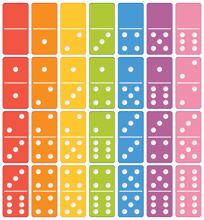 Colourful domino set element illustration