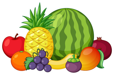 Set of mixed fruit illustration 免版税图像 - 111926634