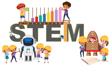 Icône de l'illustration de l'éducation STEM Vecteurs