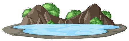 Isolated nature mountain landscape illustration