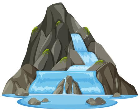 Illustrazione del paesaggio della cascata della natura isolata Vettoriali
