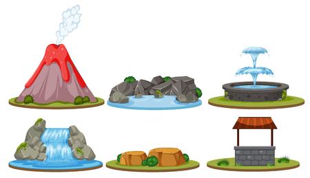 Set of isolated nature decoration illustration