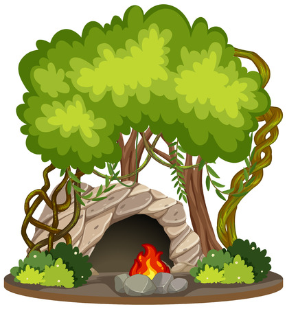 Cave with fire pit nature scene illustration