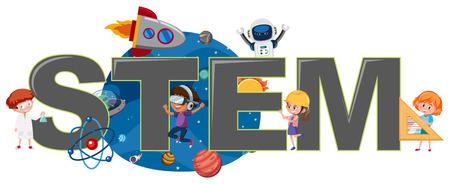 Niños con ilustración del logo STEM