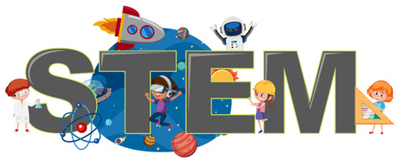 Children with STEM logo illustration