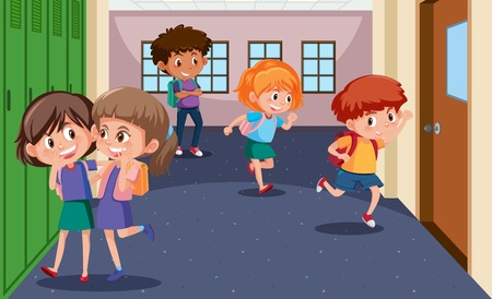Students at the school hallway illustration