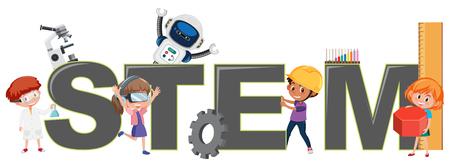 Children with STEM logo illustration