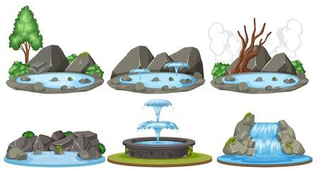 Satz von Wasserszenen Illustration