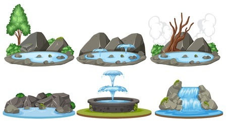 Set of water scenes illustration Ilustração