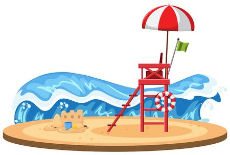 Isolated beach on white background illustration