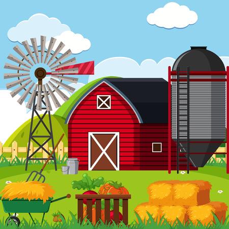 A Farm landscape scene illustration Illustration