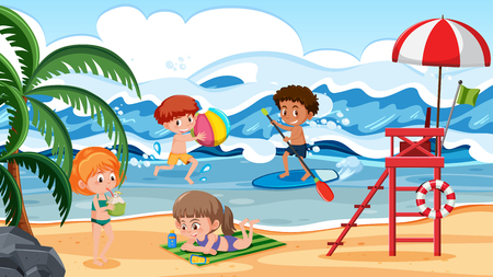 Children having fun on beach scene illustration