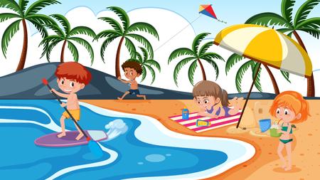 Children playing on beach illustration