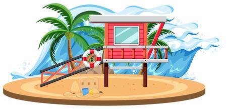 Isolated summer beach template illustration Vettoriali