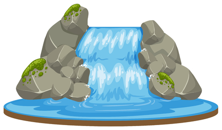 An isolated waterfall on white background illustration