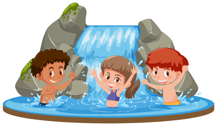 Happy kids at waterfall illustration Vectores