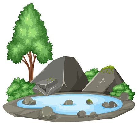 Isolated pond on white background illustration