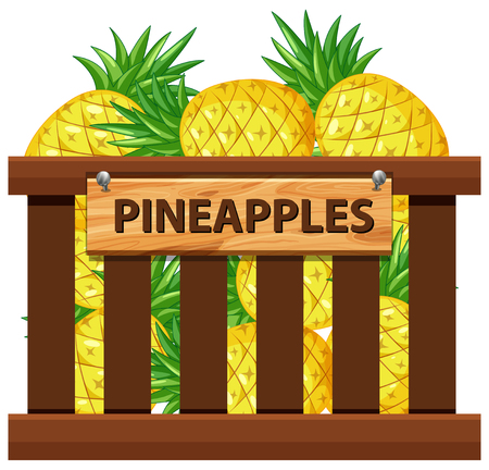 A crate of pineapple illustration