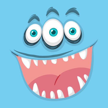 Blue three eyed monster face illustration Çizim