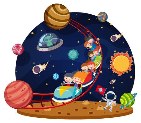 Children riding space roller coaster illustration Ilustração