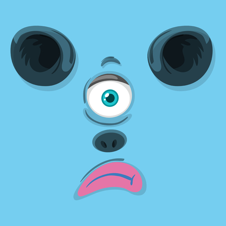 One eyed monster face illustration