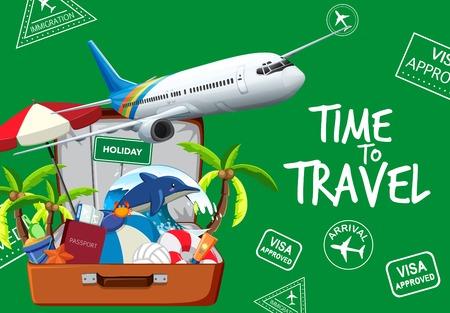 Travel element on green background illustration Illustration