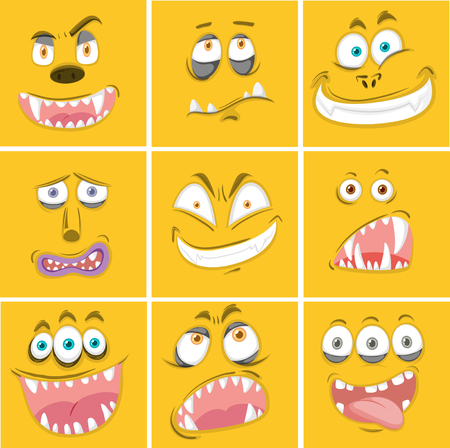 Set of yellow monster facial expression illustration
