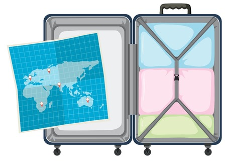 Suitcase and map on white background illustration Vectores