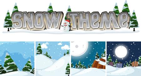 Set of winter landscape snow theme  illustration Illustration