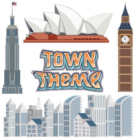 Set of town building theme illustration