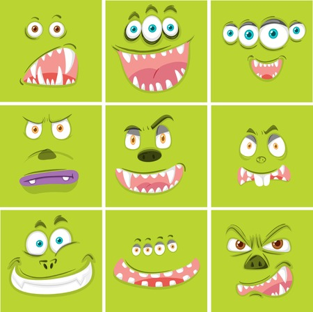 Set of monster facial expression illustration