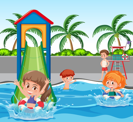 Children at water park illustration