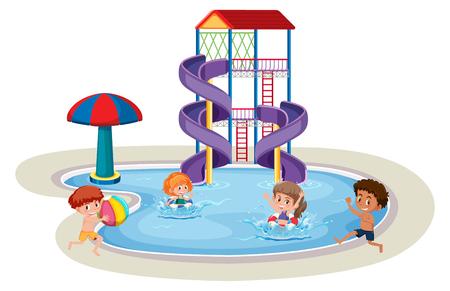 Isolated children in water park illustration Illustration