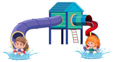 Slide water park on white background illustration Illustration