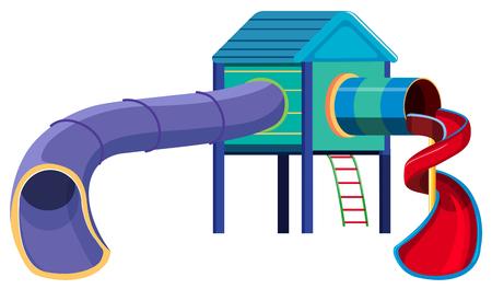 Slide playground equipment on white background illustration