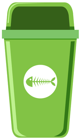 A green trash can on white background illustration