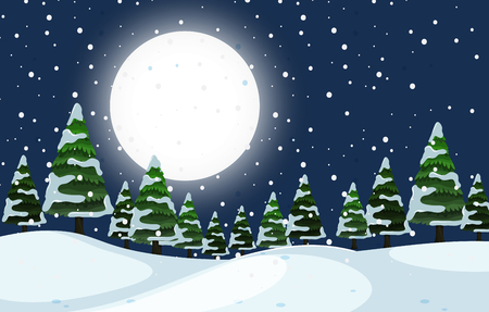 A winter outdoor night scene illustration