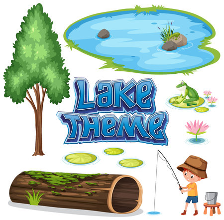 Set of lake theme illustration Stock Vector - 127263731