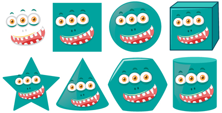 Monster face on diffrent shape illustration 矢量图像