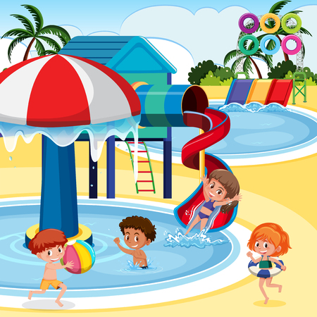 Children playing at water park illustration Illustration